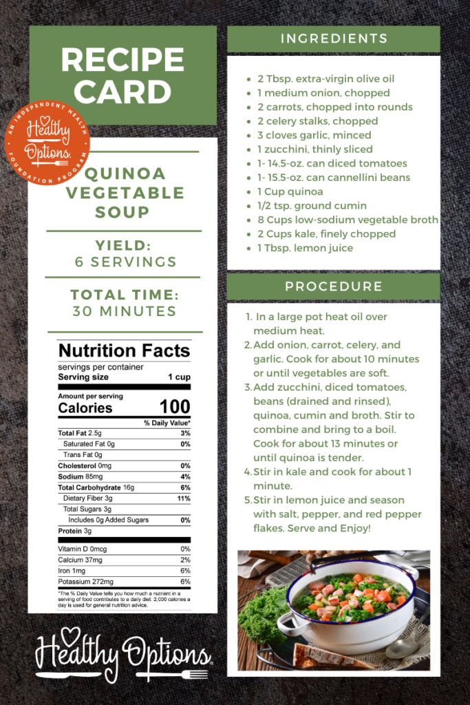 recipe for quinoa soup with nutrition information